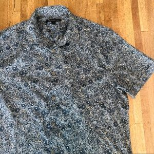 John Varvatos blue floral short sleeve button down